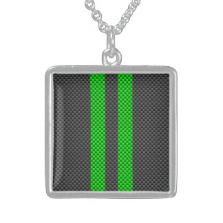 Green Carbon Fiber Style Racing Stripes Sterling Silver Necklace