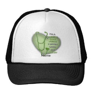 Green Cardiac Care Nurse Mesh Hats