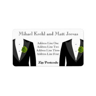 Green Carnation Address Labels for Gay Wedding