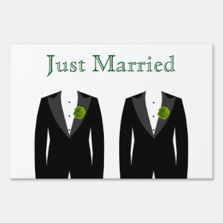 Green Carnation Gay Grooms Yard Sign Just Married
