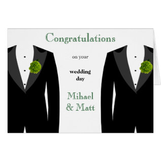 Green Carnation Gay Wedding Card For Grooms at Zazzle