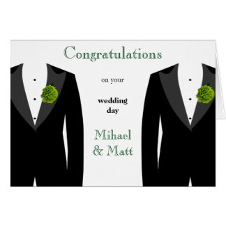 Green Carnation Gay Wedding Card for Grooms