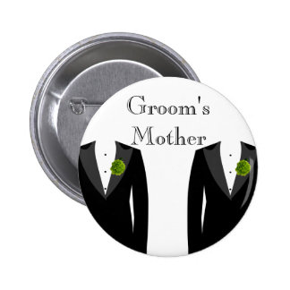 Green Carnation Gay Wedding Groom's Mother Badge Button