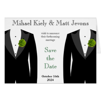 Green Carnation Gay Wedding Save The Date Notecard Stationery Note Card