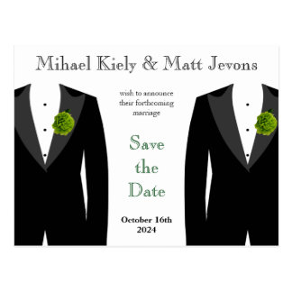 Green Carnation Gay Wedding Save the Date Postcard