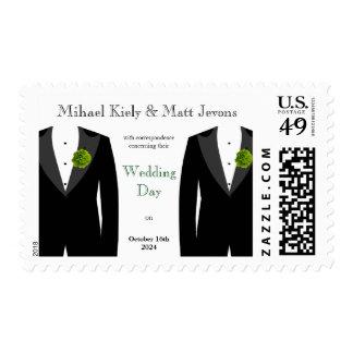 Green Carnation Grooms Gay Wedding Stamp