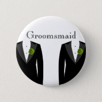 Green Carnation Groomsmaid Badge for a Gay Wedding Button