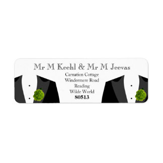 Green Carnation Return Labels for Gay Grooms