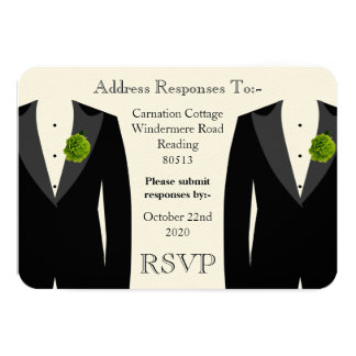 Green Carnation RSVP for a Gay Wedding Card