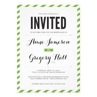 Green Carnival Stripes Modern Wedding Invitation