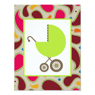 Green Carriage & Paisley Baby Shower Invite