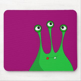 Green cartoon alien mouse pads