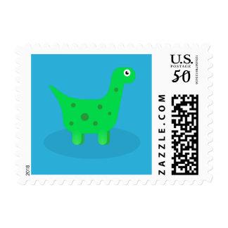 Green Cartoon Dinosaur Bronto Kids Stamp
