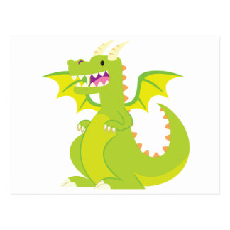 Green Cartoon Dragon Postcard