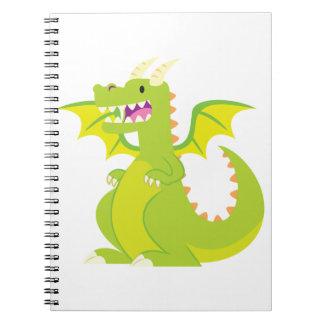 Green Cartoon Dragon Spiral Notebook