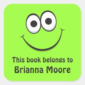 Green cartoon face bookplate stickers/book labels