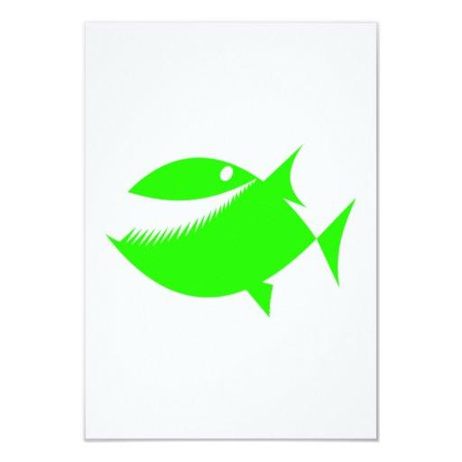 Green Cartoon Fish Card