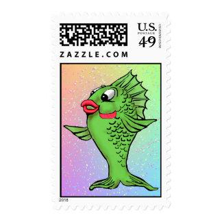 Green Cartoon Fish Stamps