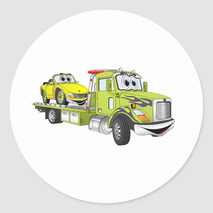 Green Cartoon Flatbed Tow Truck Classic Round Sticker Zazzle Com