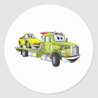 Green Cartoon Flatbed Tow Truck Classic Round Sticker