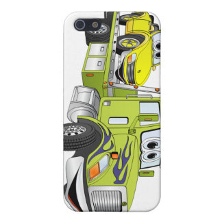 Green Cartoon Flatbed Tow Truck Cases For iPhone 5