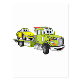 Green Cartoon Flatbed Tow Truck Post Cards