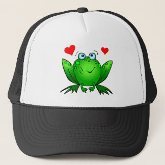 Green Cartoon Frog Cute Smile Hearts Trucker Hat