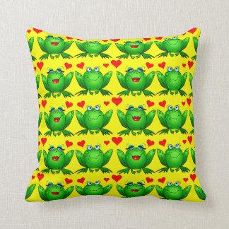 Green Cartoon Frogs Love Hearts Cheerful Yellow Throw Pillow