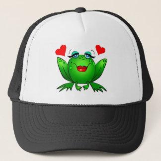 Green Cartoon Lady Frog Hearts Hat