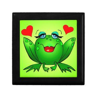 Green Cartoon Lady Frog Jewelry Box