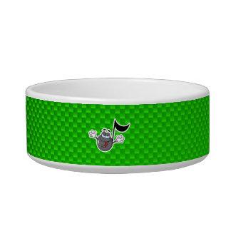 Green Cartoon Music Note Cat Bowls