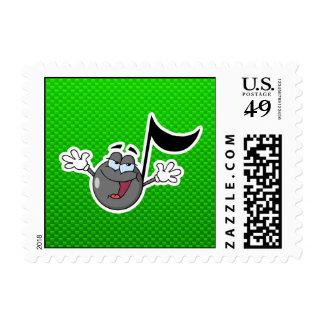 Green Cartoon Music Note Postage Stamp