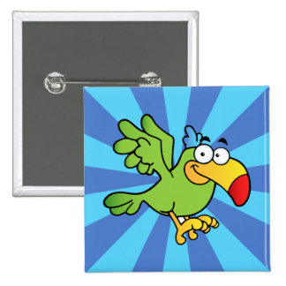 Green Cartoon Parrot Pinback Button