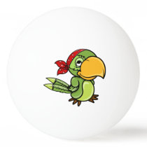Green Cartoon Pirate Parrot Ping Pong Ball