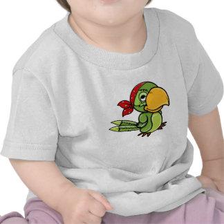 Green Cartoon Pirate Parrot T-shirt