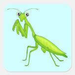 Green Cartoon Praying Mantis Sticker Sheets Square Sticker