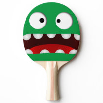 green cartoon scared monster face ping pong paddle