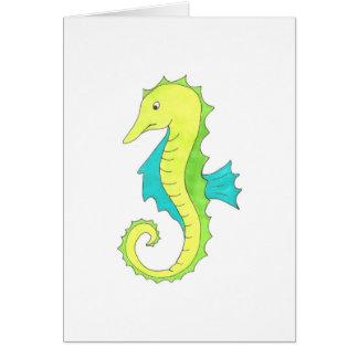 Green Cartoon Sea Horse Seahorse Beach Marine Life Card