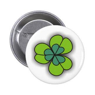 Green Cartoon Shamrock Pinback Buttons