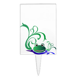Green Cartoon Smiling Frog Face over water Cake Topper