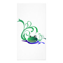 Green Cartoon Smiling Frog Face over water Card