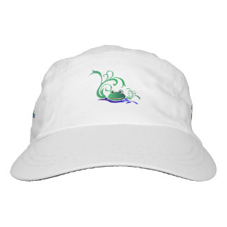 Green Cartoon Smiling Frog Face over water Hat