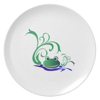 Green Cartoon Smiling Frog Face over water Melamine Plate