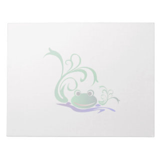 Green Cartoon Smiling Frog Face over water Notepad