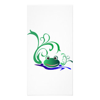Green Cartoon Smiling Frog Face over water Photo Card Template