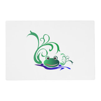 Green Cartoon Smiling Frog Face over water Placemat