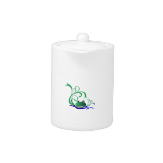 Green Cartoon Smiling Frog Face over water Teapot