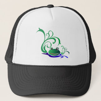 Green Cartoon Smiling Frog Face over water Trucker Hat