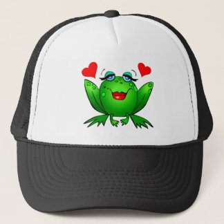 Green Cartoon Smiling Lady Frog Hearts Trucker Hat