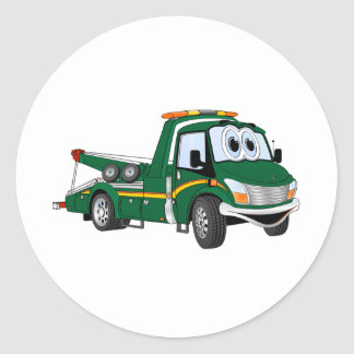 Green Cartoon Tow Truck Classic Round Sticker